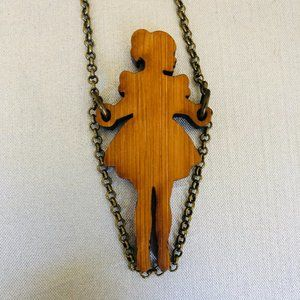 Stolen Thunder Wood Girl Jump Roping Necklace